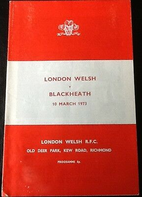 1973 LONDON WELSH v BLACKHEATH programme