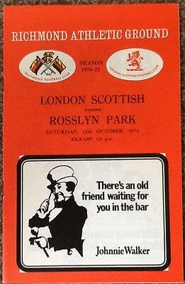 1974 LONDON SCOTTISH v ROSSLYN PARK programme
