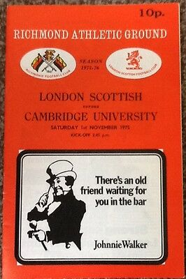 1975 LONDON SCOTTISH v CAMBRIDGE UNIVERSITY programme