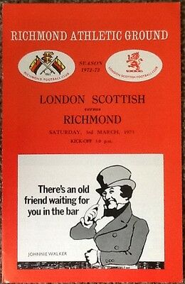 1973 LONDON SCOTTISH v RICHMOND programme