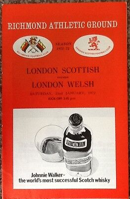1972 LONDON SCOTTISH v LONDON WELSH programme