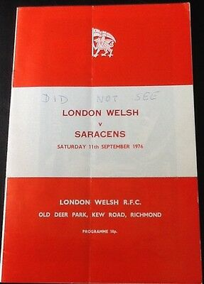 1976 LONDON WELSH v SARACENS programme