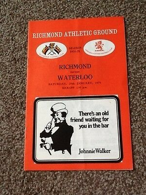 1975 RICHMOND v WATERLOO programme
