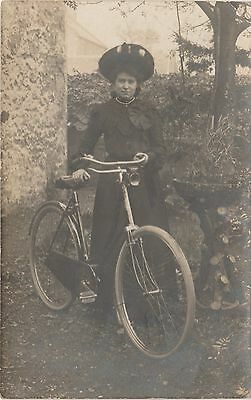 Real Photograph Postcard c.1910,Woman & Bicycle. Cycling/Suffragette Interest.