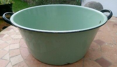 Vintage Large Green Enamel Basin / Bowl With Handles Cottage Shabby