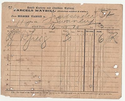 South Eastern & Chatham Railway Parcels Waybill Holborn Viaduct/Gravesend West S