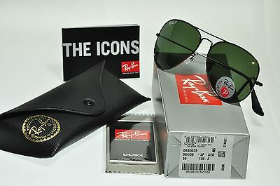 NEW Authentic Ray Ban RB3025 004/58 62mm POLARIZED Aviator GUNMETAL/Green lens