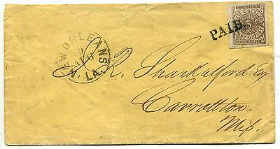NEW ORLEANS LA 9 AUG (1861) Provisional 62x3 4-margin on cover to Carrollton Mi