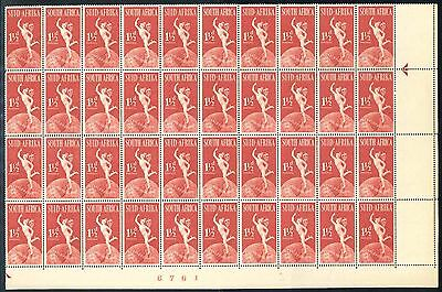 """South Africa 1949 KGVI """"UPU Anniversary"""" 1 1/2d Sheet Number Block of stamps"""