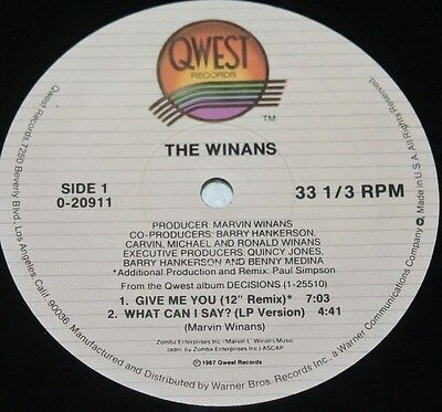 "THE WINANS * GIVE ME YOU * Classic Soul Funk Boogie 12"" Vinyl"