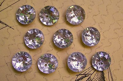 10 new multi-faceted faux diamond buttons / silver back 16 mm. diam.