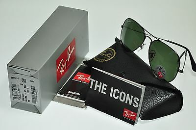 NEW Authentic Ray Ban RB3025 004/58 58mm POLARIZED Aviator GUNMETAL/Green lens
