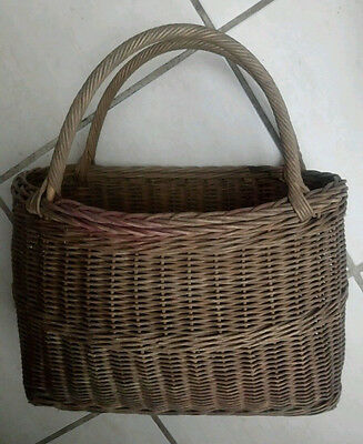 Vintage Wicker Shopping Basket Holdall 1940s