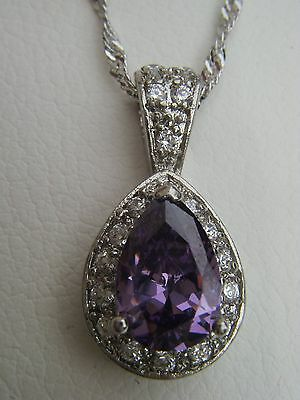 Rare Design Pear Shaped Amethyst and diamond pendant, 18k white gold with chain
