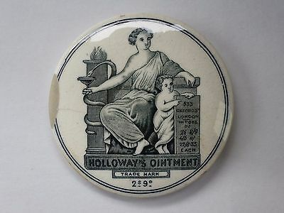 *ANTIQUE VICTORIAN PICTORIAL TRANSFER 2s 9d HOLLOWAY'S OINTMENT 80mm POT LID*