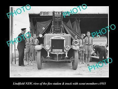 OLD LARGE HISTORIC PHOTO OF LINDFIELD NSW, THE FIRE STATION & TRUCK c1935