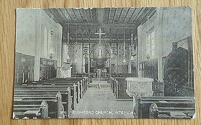 An Old Photo Postcard of The Interior of Rushford Church Norfolk