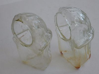 *x2 ANTIQUE c1900-20 ENGLISH CLEAR GLASS RIBBED DESIGN BIRD CAGE FEEDER DRINKER*