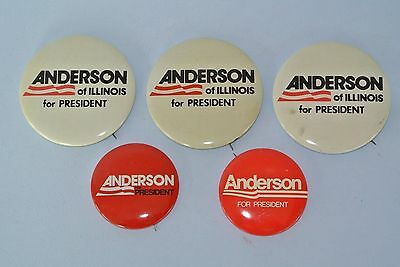 Set of 5 Vtg. 1980 Anderson for President Independent Candidate Campaign Buttons