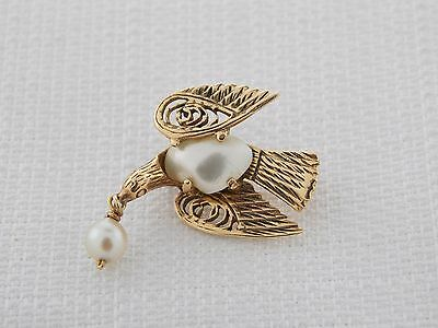 Estate Vintage 14K Yellow Gold Pearl Dove Pin Brooch or Pendant
