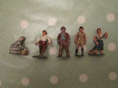 Nice Lot Of 5 Old Britains ? Farmyard Lead Figures.