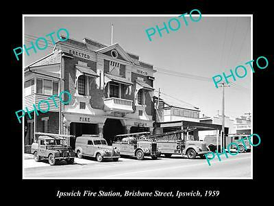 OLD LARGE HISTORIC PHOTO OF THE IPSWICH QLD FIRE BRIGADE STATION c1959