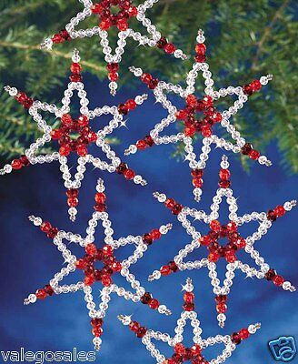 "Beadery Beaded Craft Kit ~ RUBY STARS Ornaments 5.25"" each #7338 Sale"