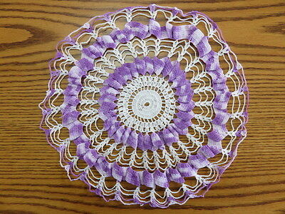 "Vintage Crochet Doily -Purple - White -  12"" Diameter"