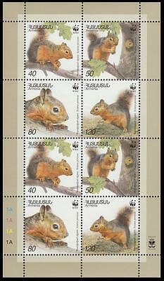Armenia WWF Persian Squirrel Sheetlet of 2 sets / 8 stamps SG#484/87 SC#632 a-d