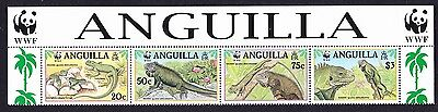 Anguilla WWF West Indian Iguana Strip of 4v with WWF Logo SG#1004/07 SC#968 a-d