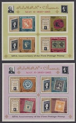 Ajman 125th Anniversary of First Postage Stamp 2 MSs SG#MS44a SC#43a+44a