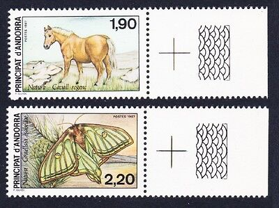 Andorra Fr. Horse Butterfly Nature Protection 2v Right Labels SG#F393/94