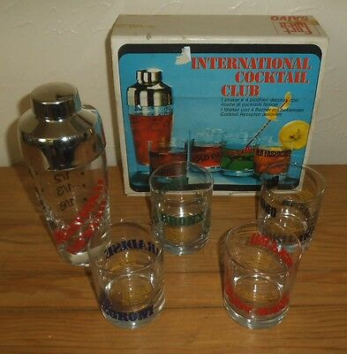 Vintage Cocktail Recipe Shaker 4 Glasses Set Boxed - Made By Saivo Italy Exc.