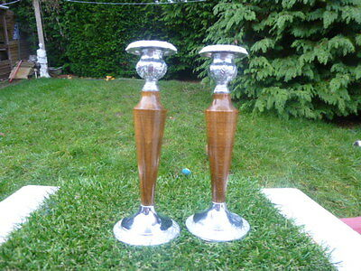 Collectable * Pair * Oak & Silver Plate Candlesticks * Made In England * L@@k