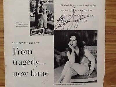 Elizabeth Taylor  SIGNED 1958 Article Tragedy  New Fame Cat on Hot Tin Roof