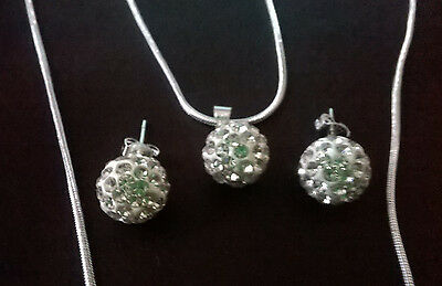 Wholesale .925 Sterling Silver Necklace, Ball Pendant & Matching Earrings & Box.
