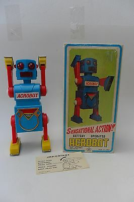 """Rare Acrobot Robot Battery Operated by """"Y"""" Yonezawa Made in Japan 1960's Box"""