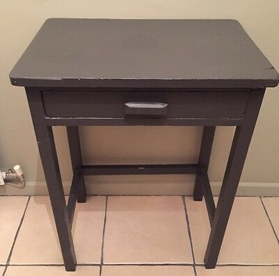 Vintage Shabby Chic Grey Side Table With Drawer