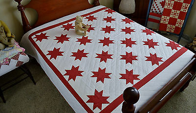 Antique Hand Stitched Red Star of the East Quilt *