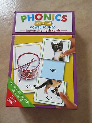 Phonics Slide and Learn Vowel Sounds Interactive Flash Cards x 15 vgc
