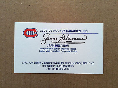 Jean Beliveau signed Personal Business Card (Montreal Canadiens V.P.)autographed