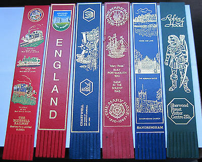 A collection of 6 leather bookmarks - tourist attractions