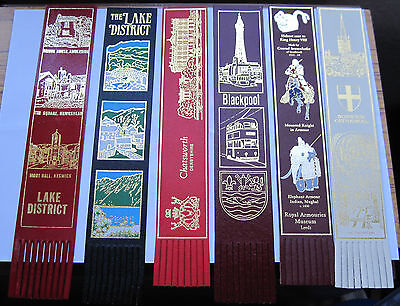 A collection of 6 leather bookmarks - UK tourist attractions