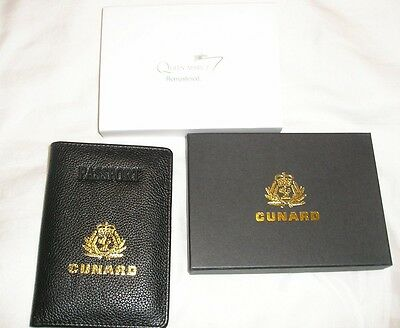Leather Passport Holder Cunard Queen Mary 2 Remastered In Box