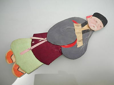 Vintage Japanese Hand Made Paper Doll Man With A Grey & Maroon Kimono