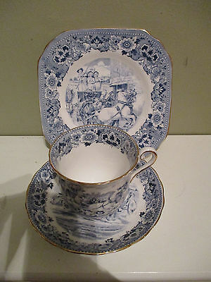VINTAGE Tuscan BONE CHINA Trio CUP SAUCER Plate Blue white willow coach scene