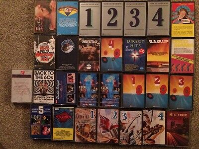 Job Lot Of 29 Compilation Music Cassettes, 60's, 70,s & 80's