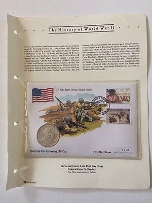 History Of World War 11 Turks & Caicos Coin First Day Cover General Omar Bradley