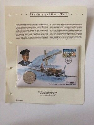 History Of World War 11 Isle Of Man Coin First Day Cover Trafford Leigh Mallory