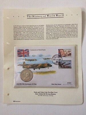 History Of World War 11 Turks & Caicos Coin First Day Cover Sir Bertram Ramsay